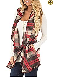 Womens Sleeveless Lapel Open Front Cotton Sleeveless Plaid Vest Cardigan With Pockets