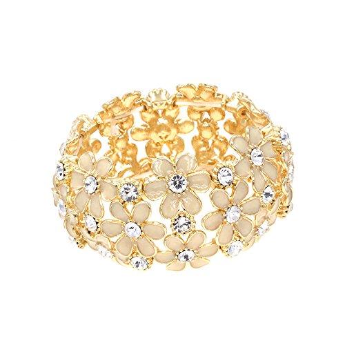 Flowers Stretch Bracelets Gold Tone Enamel Party For Woman Bangle (Enamel Crystal Stretch Bracelet)