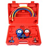 R134A Manifold Gauge Set AC A/C 6FT Colored Hose Air Conditioner w/Case Red New