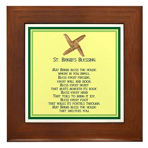 CafePress Irish Blessings ST. Brigid Framed Tile, Decorative Tile Wall ()