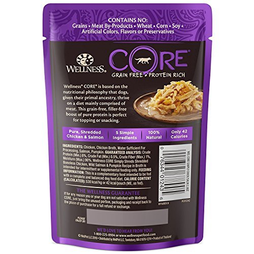 Wellness CORE Simply Shreds Grain Free Dog Tasty Topper 3 Flavor 6 Pouch Variety Bundle, 2 each: Chicken Salmon Pumpkin, Chicken Liver Broccoli, Chicken Beef Carrots, 2.8 Ounces