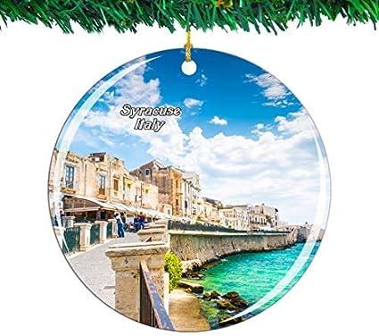 Kysd43mill Italia Ortigia Siracusa Sicilia Ceramica Ornamenti Decorazione Albero Di Natale Ornamenti Ricordo Per Donne Ragazze Amiche Amazon It Casa E Cucina