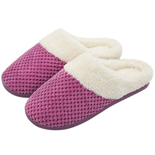 (Women's Soft Gridding Coral Velvet Short Plush Lining Slip-on Memory Foam Clog Indoor Slippers (Medium / 7-8 B(M) US,)