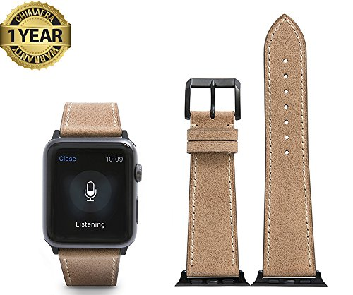 Price comparison product image CHIMAERA Compatible Replacement for Apple Watch Band 42mm Leather Strap Series 3/2/1 Sports Edition
