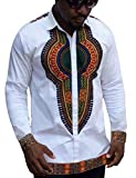 COOFANDY Mens Long Sleeves African Dashiki Button Down Shirt, White, Medium