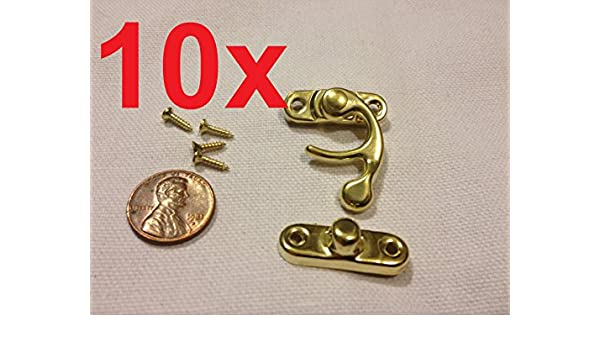 Latch clasp small mini doll house Antique hook Carved box lock c16 10x  GOLD M