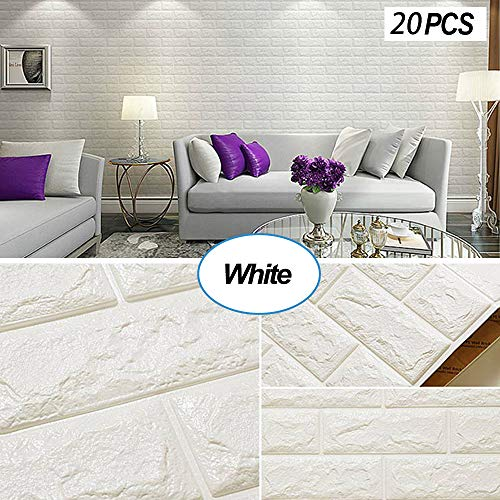 Masione 3D Wallpaper Wall Panels Self-Adhesive Peel and Stick Real Bricks Effect Wall Tiles for TV Walls Sofa Background Bedroom Kitchen Living Room Home Wall Decor 116.26 sq.ft 20Packs