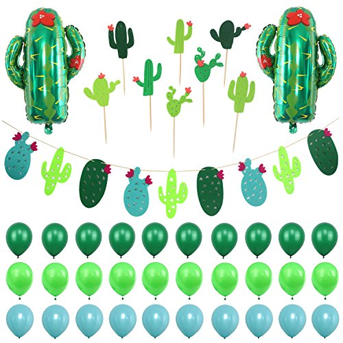 Simla Decor Cactus Party Decoration Set - Cactus Foil Balloons Baby Shower Cactus Felt Bunting Banners Garland Succulent Cactus Cupcake Toppers