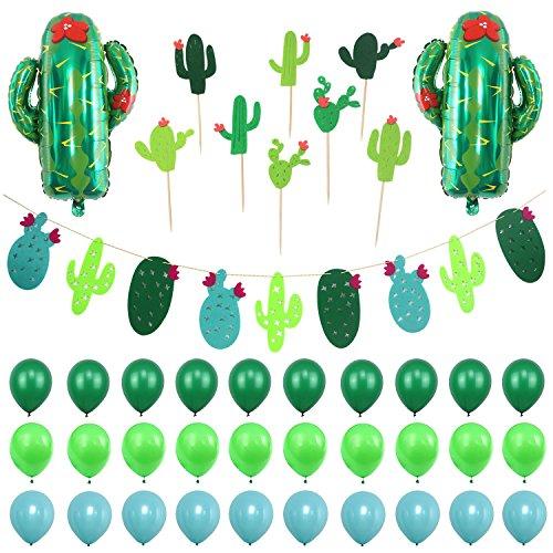 Simla Decor Cactus Party Decorations Set - Cactus Foil Balloons Baby Shower Cactus Felt Bunting Banners Garland Succulent Cactus Cupcake Toppers ()