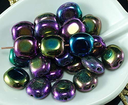 Opaque Metallic Iris Purple Czech Glass Flat Oval Beads Tablet Shape Spacer 10mm x 9mm 20pcs