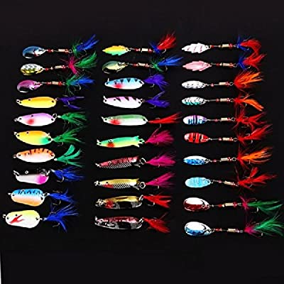 Leeko Lot 30 pcs Multi Color Metal Fishing Lures Assorted Feather Spinner Baits Crankbait Fish Hooks Tackle
