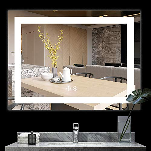 BATH KNOT LED Bathroom Makeup Vanity Mirror with Lights-Wall Mounted Backlit Mirror, - Bathroom Mirrors Size Vanity For 48