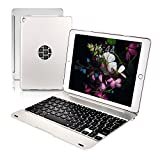 Philont Bluetooth Folio Keyboard Case for iPad Pro 9.7 ,Full-body Protection iPad Case Cover,130 Degree Hard Shell Apple Keyboard Case Silver