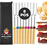 Marshmallow Sticks – 8 pcs Roasting Sticks for BBQ, Campfire, Fire Pits, Camping – Durable Stainless Steel Smores Sticks with