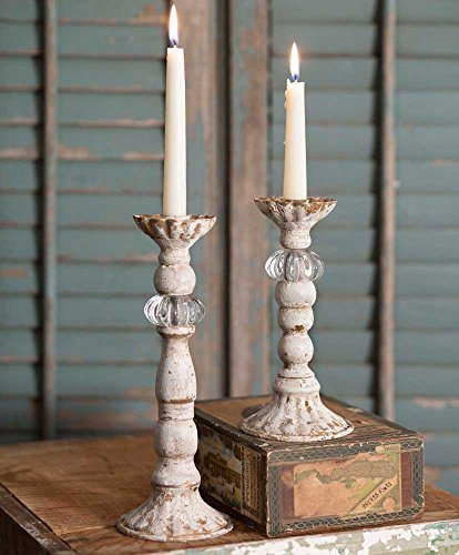 CTW Distressed Antiqued White Set of Two Chrissy Taper Candle Holders ()