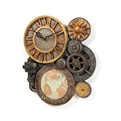Gears of Time World Globe Sculptural Wall Clock