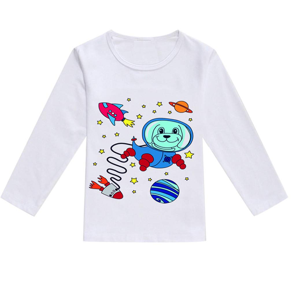 NUWFOR Toddler Baby Kids Boys Girls Spring Cartoon Print Tops T-Shirt Casual Clothes(Blue,18-24 Months)