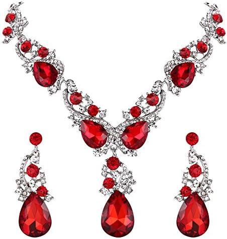 BriLove Teardrop Statement Necklace Earrings product image
