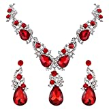 BriLove Wedding Bridal Necklace Earrings Jewelry Set Multi Teardrop Cluster Crystal Statement Necklace Dangle Earrings Set Ruby Color Silver-Tone