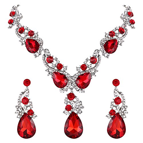 BriLove Wedding Bridal Necklace Earrings Jewelry Set Multi Teardrop Cluster Crystal Statement Necklace Dangle Earrings Set Ruby Color Silver-Tone ()