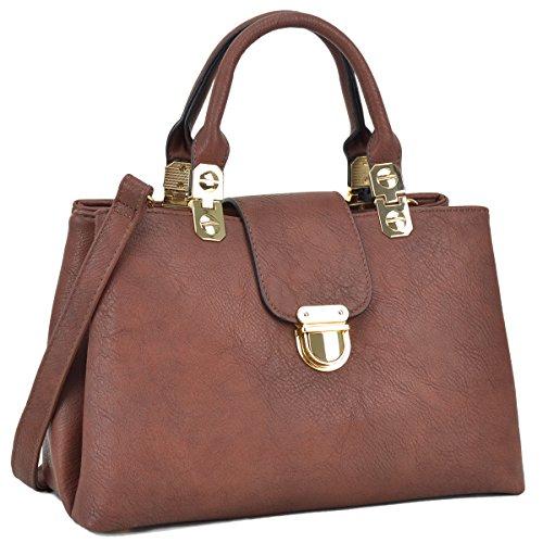 - Dasein Women Satchel Handbags Top Handle Purse Medium Tote Bag Vegan Leather Shoulder Bag Coffee