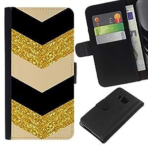 EJOY---La carpeta del tirón la caja de cuero de alta calidad de la PU Caso protector / HTC One M9 / --Patrón Oro Tela Espumoso