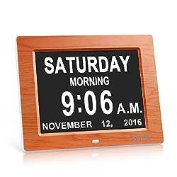 Svinz 3 Alarms Dementia Clock, Digital Calendar Day Clock for Vision Impaired, Elderly, Memory Loss, Wood Grain, SDC008W