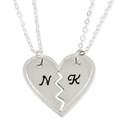 Amazon name necklace best friend bff breakable heart pendant name necklace best friend bff breakable heart pendant two heart pendants two chains aloadofball Image collections