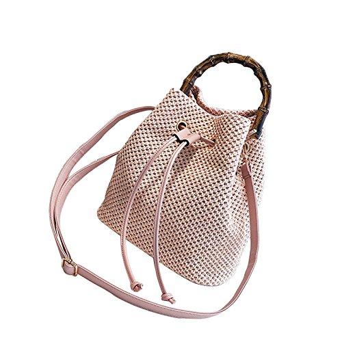 Seau Sac Main De Sac Lady Mode Sacs ASDYY Sac à Diagonale Marée Bambou Tissé Pink à Paille Forme Bandoulière q4zvaCCx1w