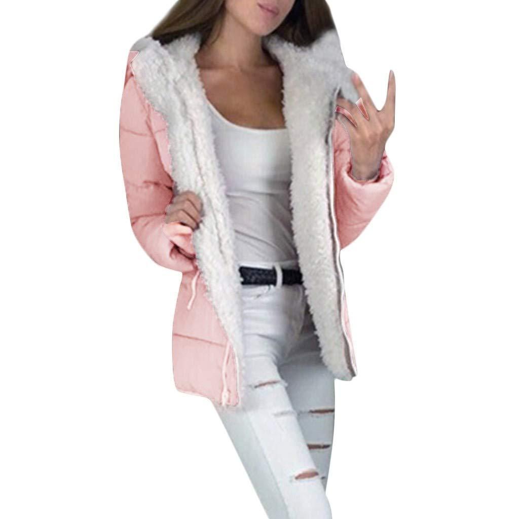 DRAGONHOO Women's Long Sleeve Lapel Zip Up Faux Shearling Shaggy Oversized Coat Jacket with Pockets Warm Winter Pink by DRAGONHOO