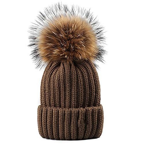 Knitted Real Fur Hat 100% Real Pom Pom Hat Winter Women Hat Beanie for Women,Brown]()
