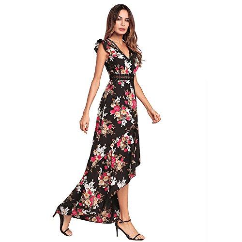 Blanco Largo Bohemio Floral de V Gasa Estampado Playa Sexy Antaina Mujer Vestido Profundo Bajo Alto Black 8wvtpEq