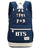 JUSTGOGO Korean Casual Backpack Daypack Laptop Bag College Bag Book Bag School Bag (Dark Blue 2)