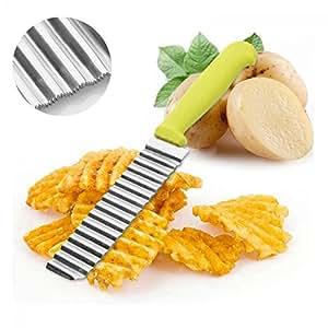 Genenic Dough Vegetable Crinkle Stainless Steel Wavy Cutter Potato Chip Slicer Blade