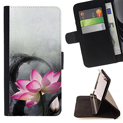 FJCases Lotus Flower Beauty Slim Wallet Card Holder Flip Leather Case Cover for Sony Xperia Z1 Compact