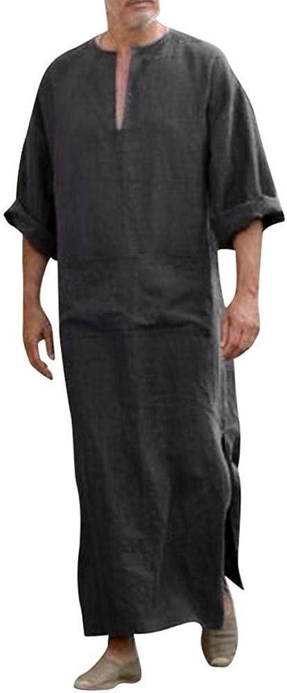 Huateng Hombre Casual étnico musulmán Thobe, Ropa de Cama Kaftan Medio Oriente Saudita árabe Vestidos con Bolsillos