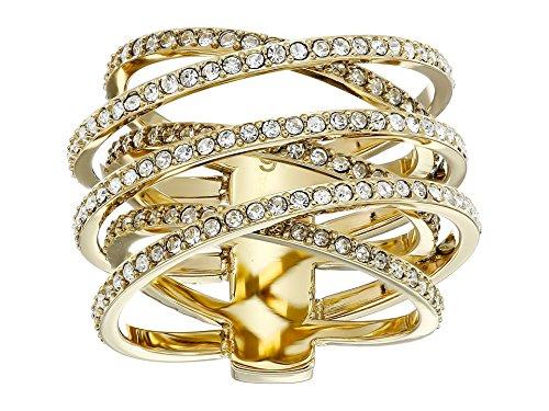 Michael Kors Women's Pave Crisscross Ring Gold 6 (Michael Kors Rings Size 6)