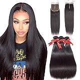 Allrun Hair Straight Hair Bundles with Closure Middle Part(16 18 20+14closure) Brazilian Straight Human Hair 3 Bundles...