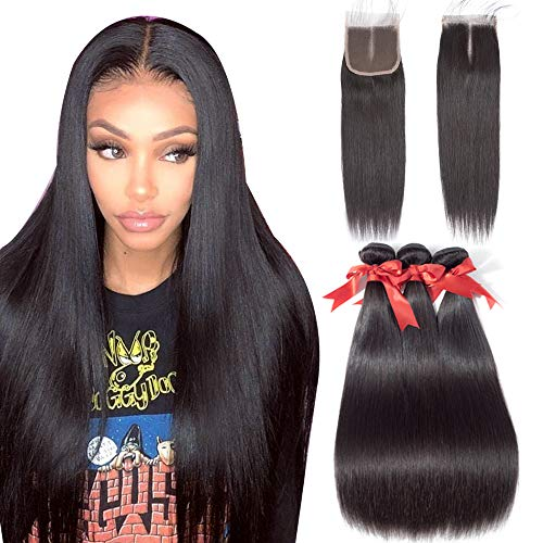 Allrun Hair Straight Hair Bundles with Closure Middle Part(16 18 20+14closure) Brazilian Straight Human Hair 3 Bundles with Middle Part Lace Closure Human Hair Extensions Natural Black Color from ALLRUN