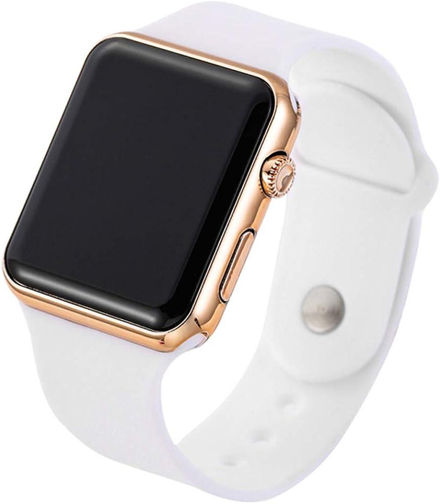 RRWL Reloj LED Deportivo y de Ocio para Mujer Reloj Digital Unisex Reloj de Pulsera de Silicona para Parejas Regalosnavideños Oro Rosa Blanco