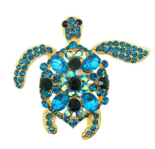 (Hosaire Women's Sea Turtle Brooch Pin with Crystal Rhinestones Breastpin Wedding/Banquet/Bouquet Light Blue)