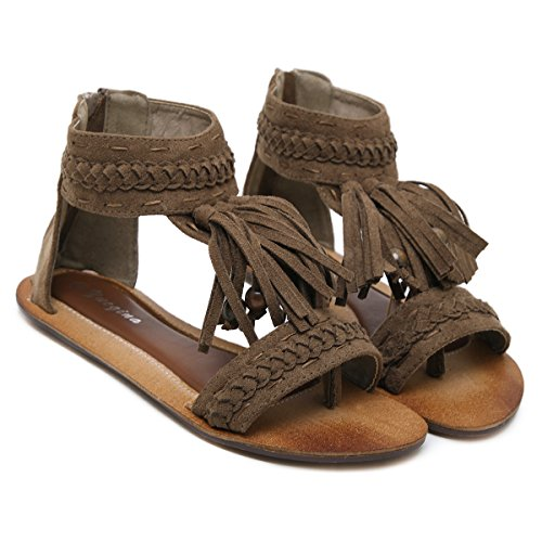 Flat Sandals Women's Ankle Beauty Back Zipper Strap Fringe toe Open D2C Khaki HpwxqCznvv