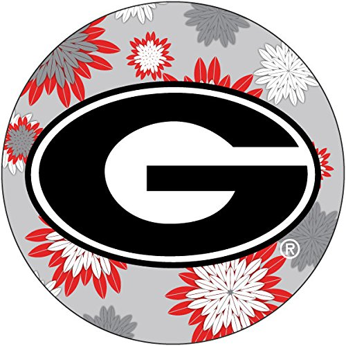 - R and R Imports, Inc Georgia Bulldogs NCAA Collegiate Trendy Floral Flower Fashion Pattern 4 Inch Round Decal Sticker
