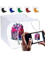 Mini Light Box RabbitStorm Estudio Fotografico Portatil, Caja de Luz para Estudio Fotográfico Portátil Semi Profesional, Kit para Fotografía de Producto con 2 Tiras LED Ajustable 40Leds y 2 USB y 6 Fondos de Colores