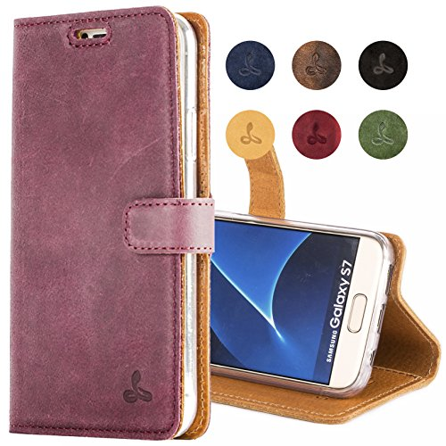 - SnakeHive Galaxy S7 Case, Vintage Collection Samsung Galaxy S7 Wallet Case in Nubuck Leather with Credit Card/Note Slot for Samsung Galaxy S7 (Plum)