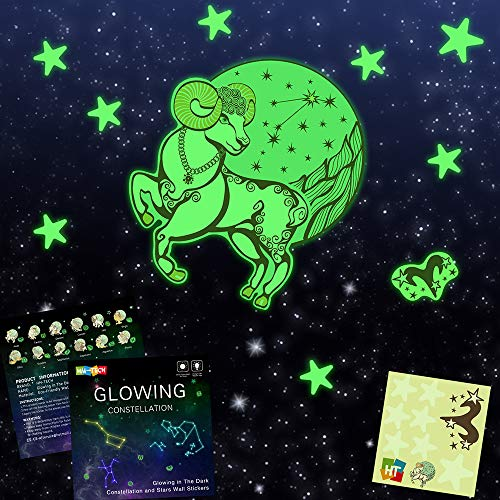 Glow in The Dark Stickers Constellation (Aries) with 7pcs stars and 1 Symbol,Bright Solar System Wall Stickers,Glowing Constellation Wall Decals for Kids Bedroom Living Room (Furniture Stores Jupiter)