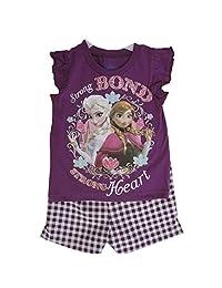 Disney Little Girls Purple Frozen Characters Plaid Print 2 Pc Shorts Set 2T-4T