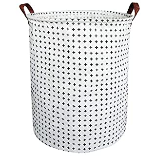 BOOHIT Cotton Fabric Storage Bin,Collapsible Laundry Basket-Waterproof Large Storage Baskets,Toy Organizer,Home Decor (Cross)