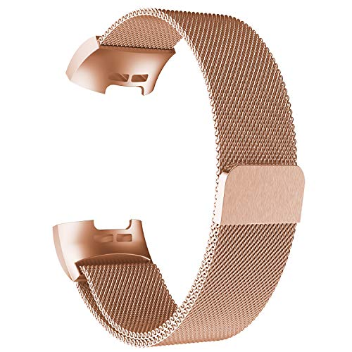 POY Metal Replacement Bands Compatible for Fitbit Charge 3 and Charge 3 SE Fitness Activity Tracker, Milanese Loop Stainless Steel Bracelet Strap with Unique Magnet Lock for Women Men, Large Rose Gold