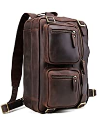 Men Expandable Genuine Leather Briefcase, Convertible Backpack Shoulder Laptop Tote Bag